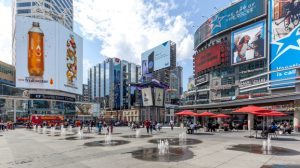 Yonge-Dundas Square in Toronto. The Yonge-Dundas intersection is one of the busiest in Canada.